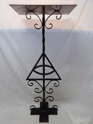 Vtg Antique Wrought Iron Victorian Gothic Church Music Sheet Book Stand Catholic