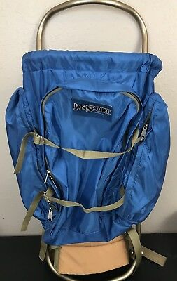 Vintage Blue Jansport External Frame Hiking Backpack With Hip Wings Made In USA