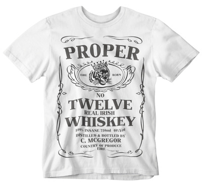 db28a5e2 Conor Mcgregor T-shirt Proper Twelve Whiskey Tee Mma Gym Sports Boxing  white tee