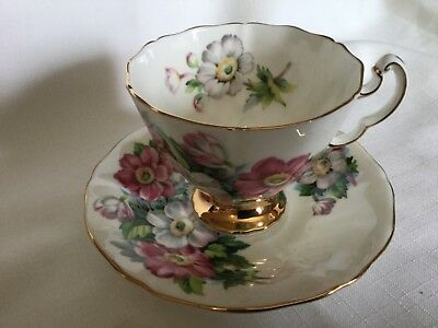 Adderley Bone China  Cup And Saucer England  White/ Anemones