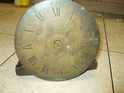 "18thc LONG CASE CLOCK MOVEMENT WITH SMALL (8"") BRASS DIAL by MALLET BARNSTAPLE"