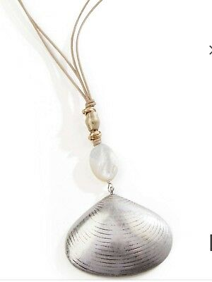 J Jill Gorgeous Mother Of Pearl Shell Pendant Necklace, NWT