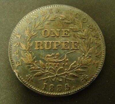 1835 INDIA RUPEE  Silver  VF+  One Rupee KM#450.2   Foreign Coin