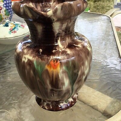"Jasba Keramik Germany 547 Drip Glaze Pitcher Twist Handle 7-5/8"" FAT LAVA"
