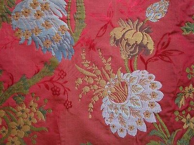 """Italian Embroidered Silk Brocade Lampas Fabric Red Golds Blues 29"""" x54"""" wide"""