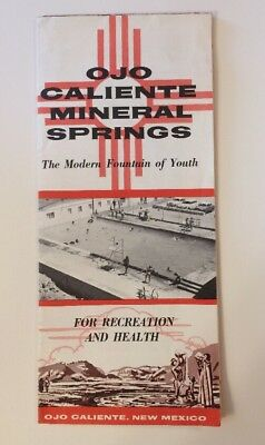 Ojo Caliente Mineral Springs 1950s Brochure With Price Insert Illustrated Map