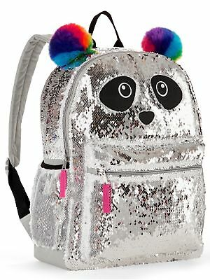 "Panda 2-Way Sequins Critter Backpack 16"" School Book Bag Tote Full Size NWT"