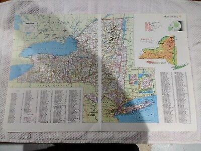 1990 Double Page Map of New York State - Major Limited Access Highways In Red