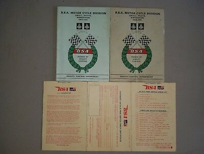 2 Bsa Inspection Cards Lightning And Victor 500 Mile Free Service Originals