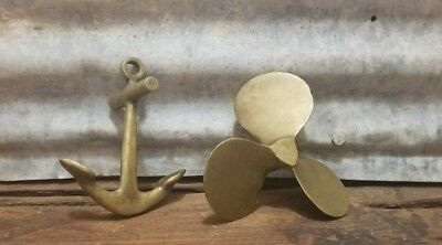 Set of 2 Vtg Brass Boat Anchor & Propeller Paperweight Desk Ship Nautical 4 1/2""