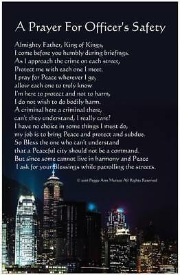 Law Enforcement Police Officer Poster Prayer for Protection 11 x 17 City Glossy