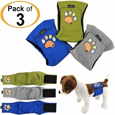 PACK 3pcs ULTRA ABSORBENT Dog Diapers Male Belly Band Wrap LEAK PROOF Washable