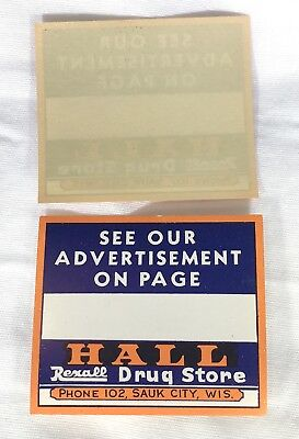 Old Antique Vintage Label REXALL Hall Drug Store SAUK CITY WI Wisconsin Ad USA