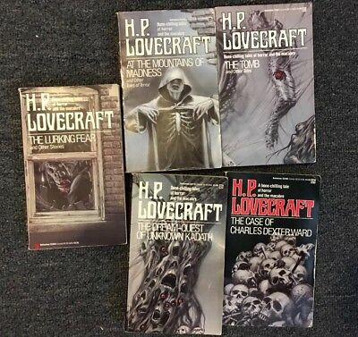 HP Lovecraft~Lot of 5 Vintage Del Rey PB~Madness, Dexter, Lurking, Kadath, Tomb