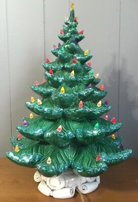 "VINTAGE LARGE 22"" TALL CERAMIC LIGHTED CHRISTMAS TREE With White Base"