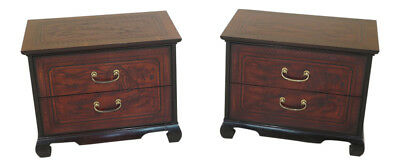 F30281EC: Pair DREXEL HERITAGE Asian Inspired 2 Door Nightstand Chests