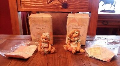 """1992 Enesco Calico Kittens """"A Bundle of Love"""" & """"I'm All Fur You"""" Lot of 2"""