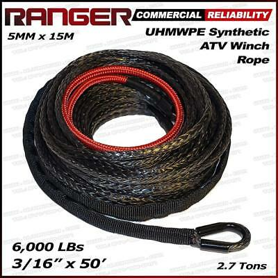 "Ranger 6,000 LBs 3/16"" x 50' Dyneema Synthetic Winch Rope 5 MM x 15 M for ATV Wi"