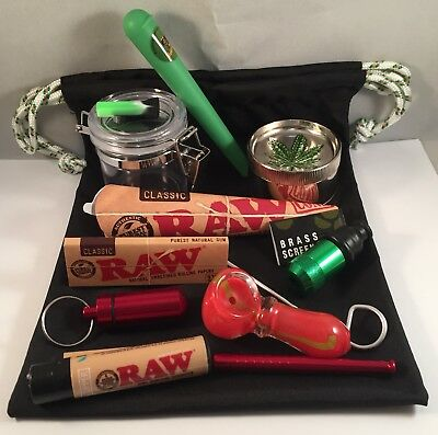 Smokn Stash Bag 13pc Lot Tobacco Grinder RAW Glass Bowl Sneak-A-Toke Pipe #A120