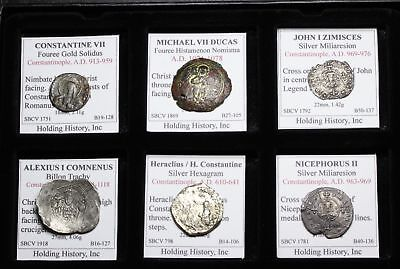 Lot of 6 Byzantine coins, All Silver or Fouree gold Solidus/Histamenon Nomisma