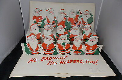 1950s NORCROSS KING SIZE CHRISTMAS CARD 15 FOLDOUT STANDUP SANTA CLAUSES GLITTER