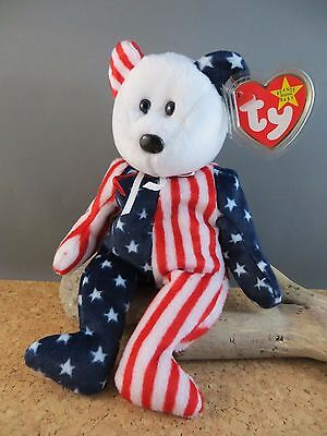 1999 Ty Beanie Babies Baby Spangle Red White Blue USA Toy Teddy Bear #165