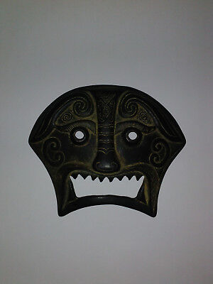 Vintage Authentic Chinese Bronze Mask/Plaque Excellent Condition, Nice Patina