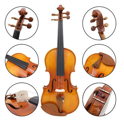 Full Size 4/4 Natural Acoustic Flame Maple Violin Fiddle With Case Rosin F4R7