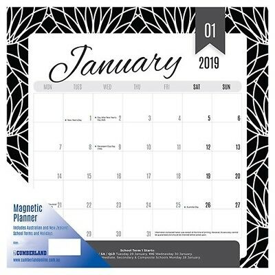 2019 Cumberland Fashion Magnetic Wall Calendar Month To View 325 x 315mm - Black