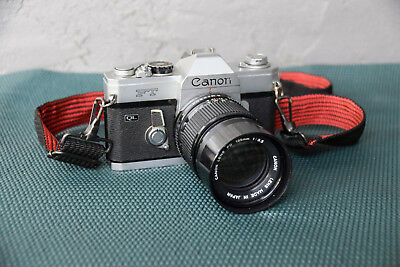 Canon FT QL 35mm SLR Film Camera, Clean w/ Zoom 135mm f/3.5, 1.3 to 70 ft