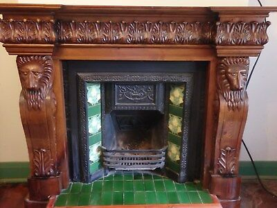 Carved mantel piece with lion heads, unusual, pick up Adelaide Hills