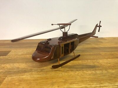 Wooden Handmade Military Helicopter Model Display