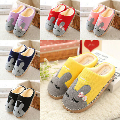 Woman Man Winter Slippers Soft Cotton Plush Cute Rabbit Partern Indoor Slippers