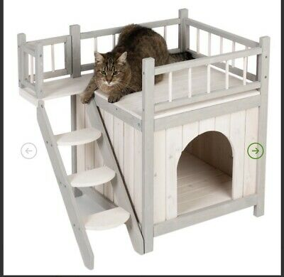 Outdoor Cat Dog House Pet Shelter Kennel Indoor Outside Wooden Deck Stairs