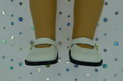 """Dolls Shoes For 17""""Baby Born~18""""American Girl  WHITE MARY JANE SHOES"""