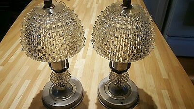 Antique Art Deco hobbnailed lamps