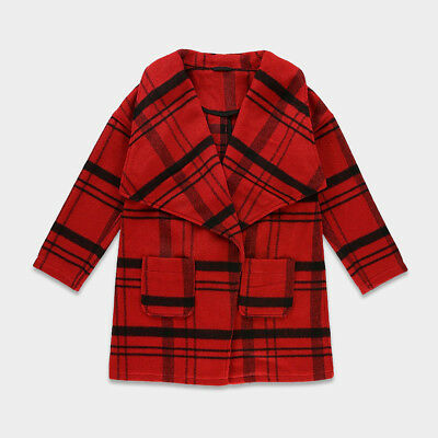 M&S Kids Girls Red Checked Trench Winter Coat Jacket Warm Thick Wool Ages 5-15