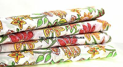 Natural Cotton Indian Floral Print White Fabric 2.5 Yard Home Decor Accessories