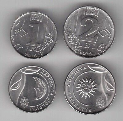 Moldova - New Issue 2 Dif Unc Coins Set 1 + 2 Lei 2018 Year