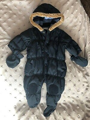 8ffe91e5f Baby Boys Navy Puffa Style Hooded All In One Winter Snowsuit * 0-3 Months