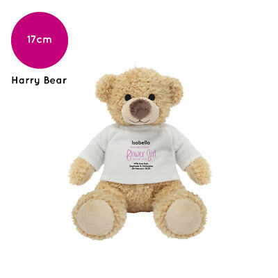 Personalised Name Flower Girl Harry Teddy Bear Wedding Favour Thank You Gift