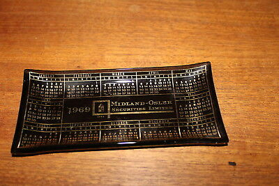 Vintage Advertising Tip Tray Calendar 1969 Midland Securities Ltd. Business Card