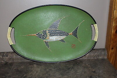 Vintage Nevco Giftwood Serving Tray 1960's made in Japan with Fish Pattern Used