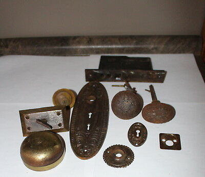 Antique Ornate Door Knob Set with Bell Ringer and Double Key Plate Plus