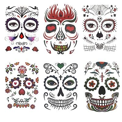 Face Art Skull Tattoo für Gesicht Tattoo Body Paint Sticker Schminke Fee Disco