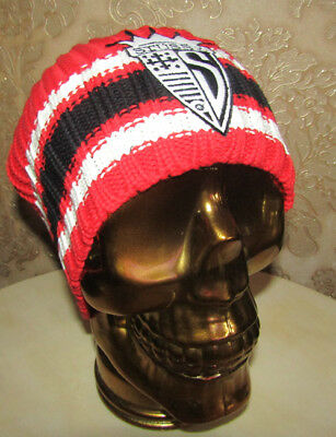 32d135fd839 Stussy Beanie Hat Skully Ski Cap Woven Badge Logo Fully Knitted Red Stripe  New