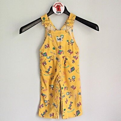 Vintage LEE Kids Yellow Corduroy Overalls Jumper Size 24 Mo Jumpsuit Fun Print