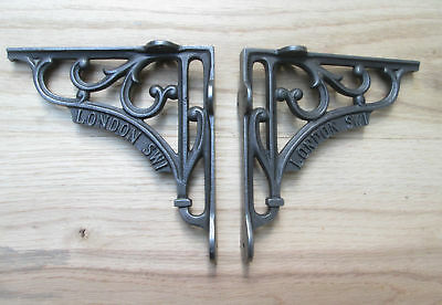 """PAIR OF 6"""" LONDON SW1 cast iron rustic vintage victorian shelf support brackets"""