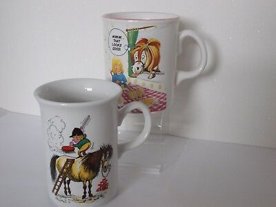 GRAYS THELWELL PONY CLUB MUGS 2 DESIGNS GROOMING OR Mmm THAT LOOKS GOOD