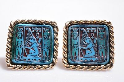 Vintage Egyptian Revival Cufflinks Blue Gold Large Square Cuff Links